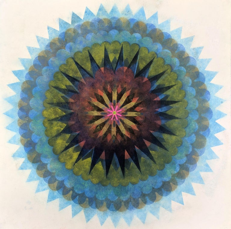 Mary Judge Abstract Drawing - Pop Flower 61, Mandala in Bright Blue, Yellow, Brown, Neon Pink, Orange