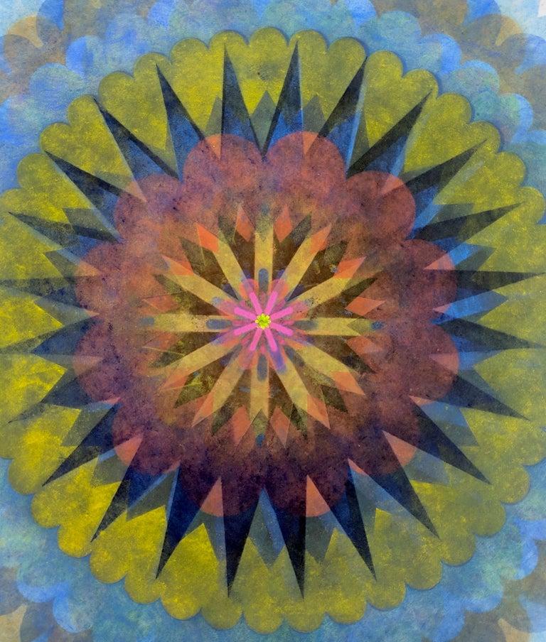 Pop Flower 61, Mandala in Bright Blue, Yellow, Brown, Neon Pink, Orange - Art by Mary Judge