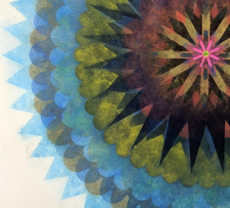 Pop Flower 61, Mandala in Bright Blue, Yellow, Brown, Neon Pink, Orange - Gray Abstract Drawing by Mary Judge