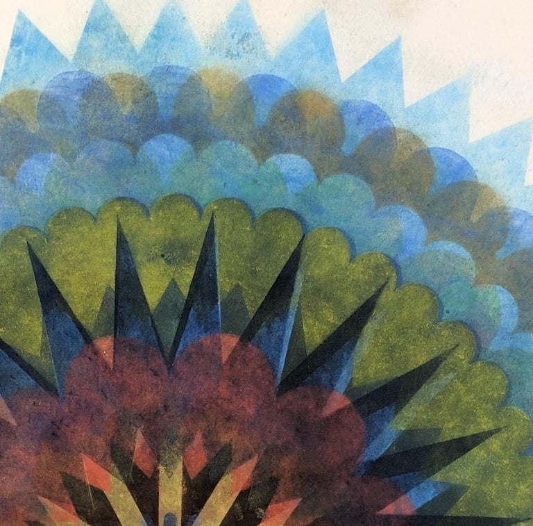 Pop Flower 61, Mandala in Bright Blue, Yellow, Brown, Neon Pink, Orange - Contemporary Art by Mary Judge
