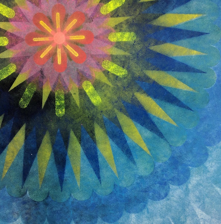 Pop Flower 70b, Mandala in Navy and Teal Blue, Pink, Fuschia, Neon Yellow - Art by Mary Judge