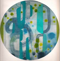 Untitled 111, Colorful Abstract Circle in Blue, Green, and Teal on Paper