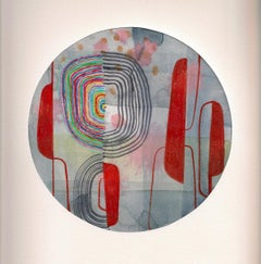 Untitled 113, Colorful Abstract Circle in Red, Pink, Green, Purple and Gray