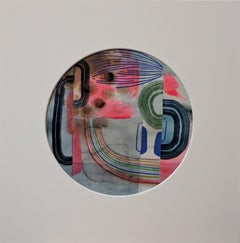 Untitled 117, Colorful Abstract Circle in Neon Pink, Olive Green and Navy Blue
