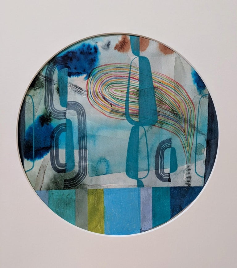 Untitled 120, Colorful Abstract Circle in Blue, Teal, Green and Red on Paper - Art by Gabe Brown