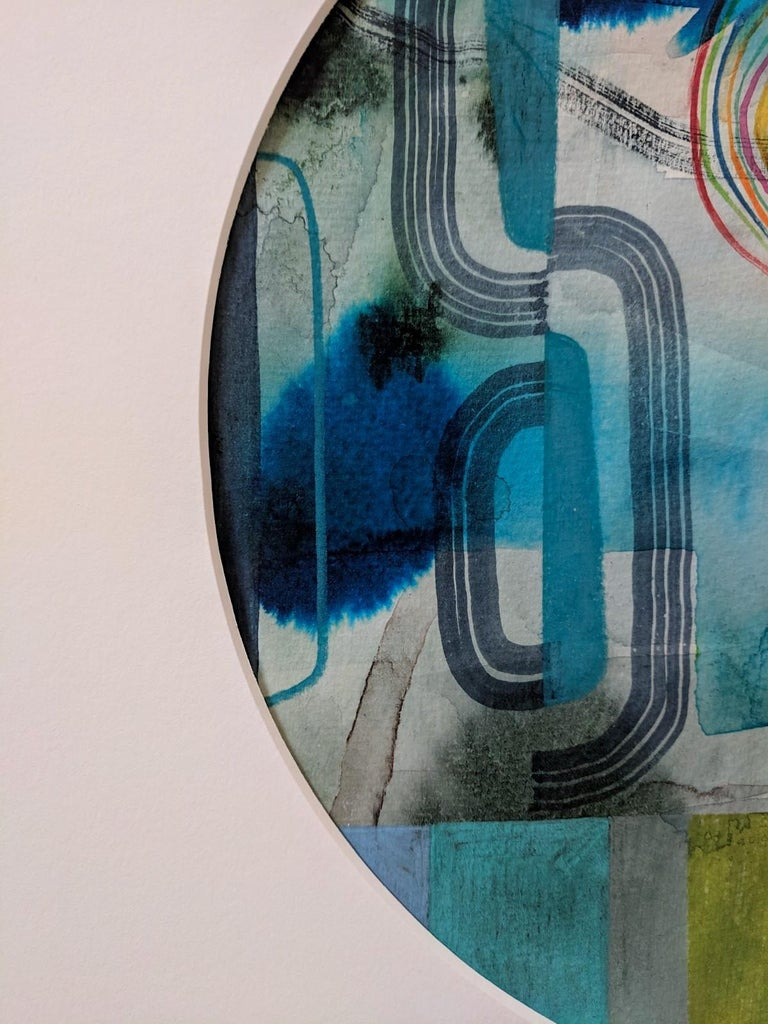 Untitled 120, Colorful Abstract Circle in Blue, Teal, Green and Red on Paper - Gray Abstract Drawing by Gabe Brown