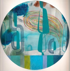 Untitled 120, Colorful Abstract Circle in Blue, Teal, Green and Red on Paper
