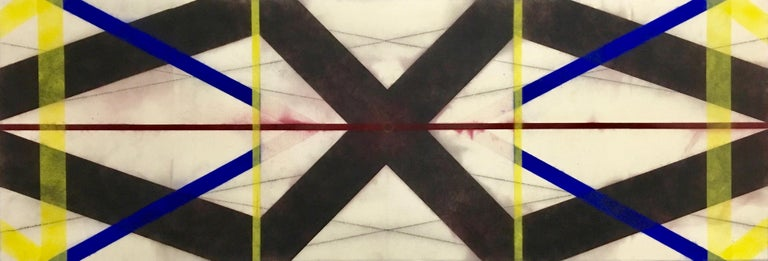 Mary Judge Abstract Drawing - Color Structure Series Dark Steel, Geometric Drawing in Black, Red, Blue, Yellow