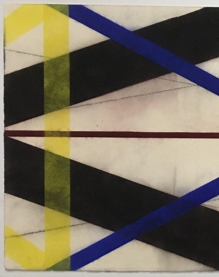 Color Structure Series Dark Steel, Geometric Drawing in Black, Red, Blue, Yellow - Art by Mary Judge