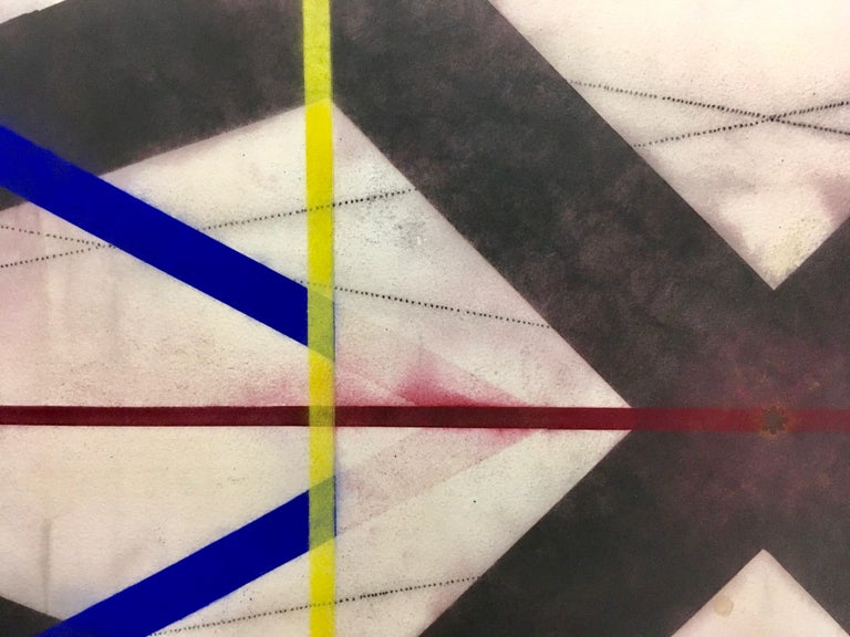 Color Structure Series Dark Steel, Geometric Drawing in Black, Red, Blue, Yellow - Contemporary Art by Mary Judge