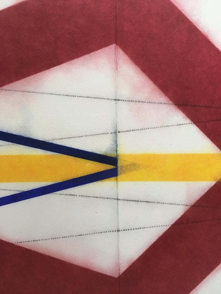 Color Structure Series, Color Shards, Geometric Drawing in Red, Orange, Blue - Contemporary Art by Mary Judge