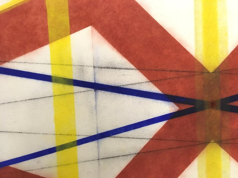 Color Structure Series, Damascus, Geometric Drawing in Dark Orange, Yellow, Blue - Art by Mary Judge