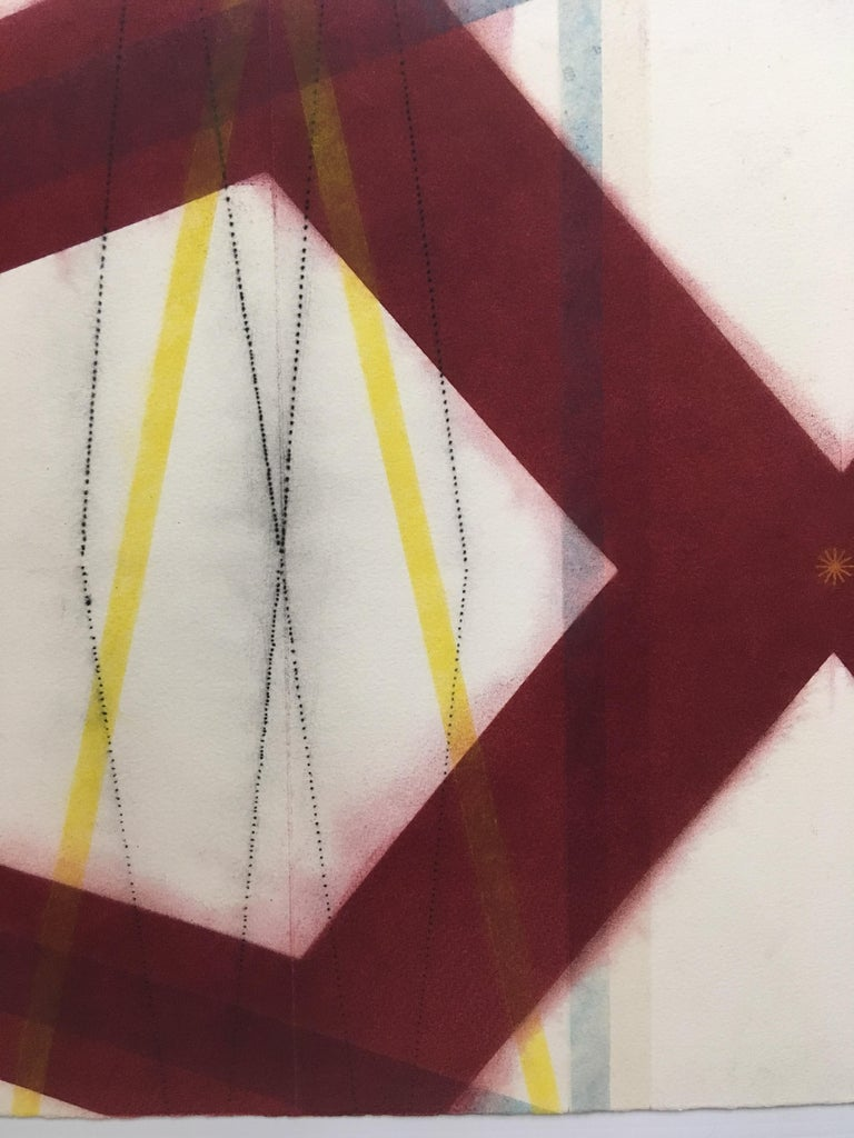 Color Structure Series, Yellow Slashes, Geometric Drawing in Red, Yellow, Blue - Contemporary Art by Mary Judge