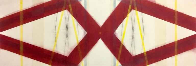 Mary Judge Abstract Drawing - Color Structure Series, Yellow Slashes, Geometric Drawing in Red, Yellow, Blue
