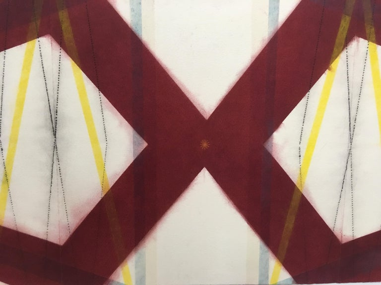 Color Structure Series, Yellow Slashes, Geometric Drawing in Red, Yellow, Blue - Art by Mary Judge