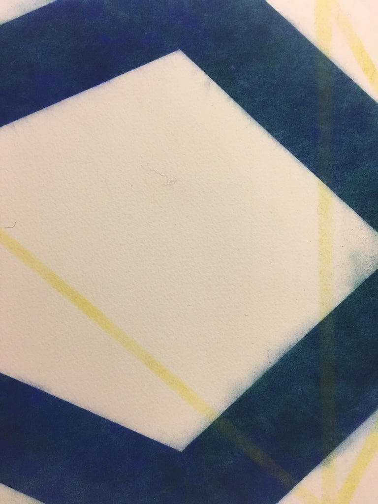 River And Steel Series Six, Geometric Drawing in Dark Blue, Yellow and Red - Contemporary Art by Mary Judge