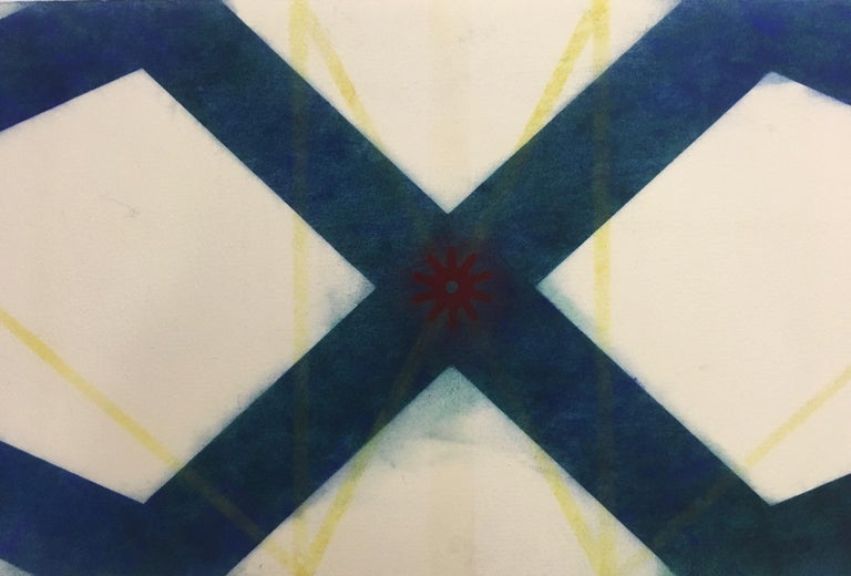 River And Steel Series Six, Geometric Drawing in Dark Blue, Yellow and Red - Art by Mary Judge