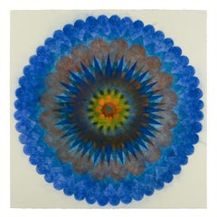 Pop Flower 71b, Mandala in Cobalt Blue, Orange, Green, Brown