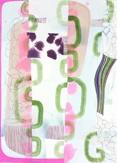 Untitled 330, Vertical Abstract Landscape in Pale Pastel Pink, Purple and Green