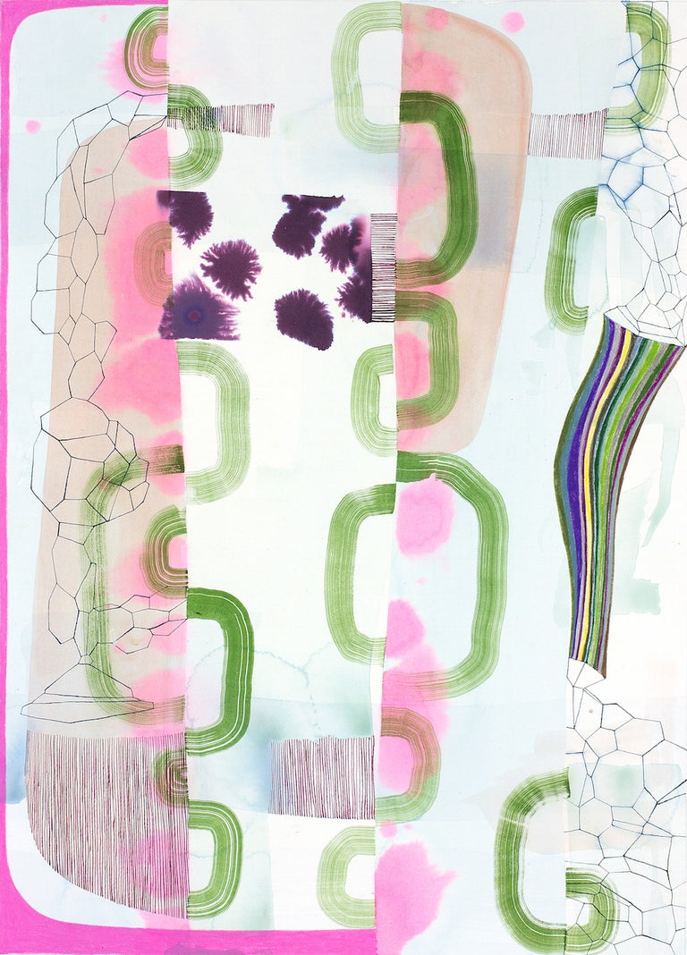 Gabe Brown Abstract Drawing - Untitled 330, Vertical Abstract Landscape in Pale Pastel Pink, Purple and Green