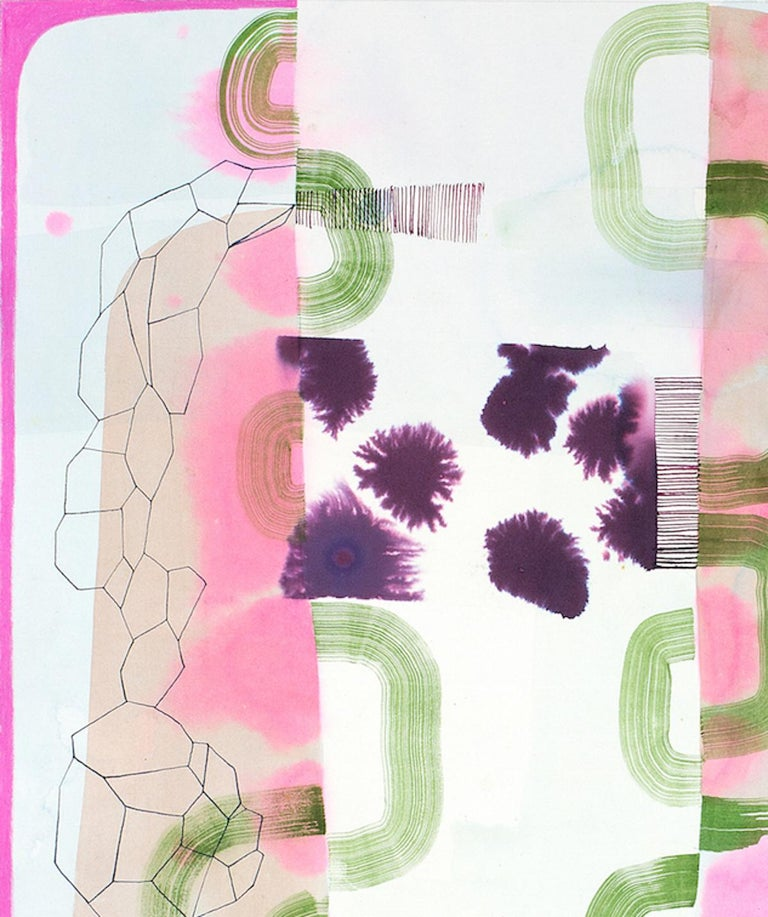 Untitled 330, Vertical Abstract Landscape in Pale Pastel Pink, Purple and Green - Art by Gabe Brown
