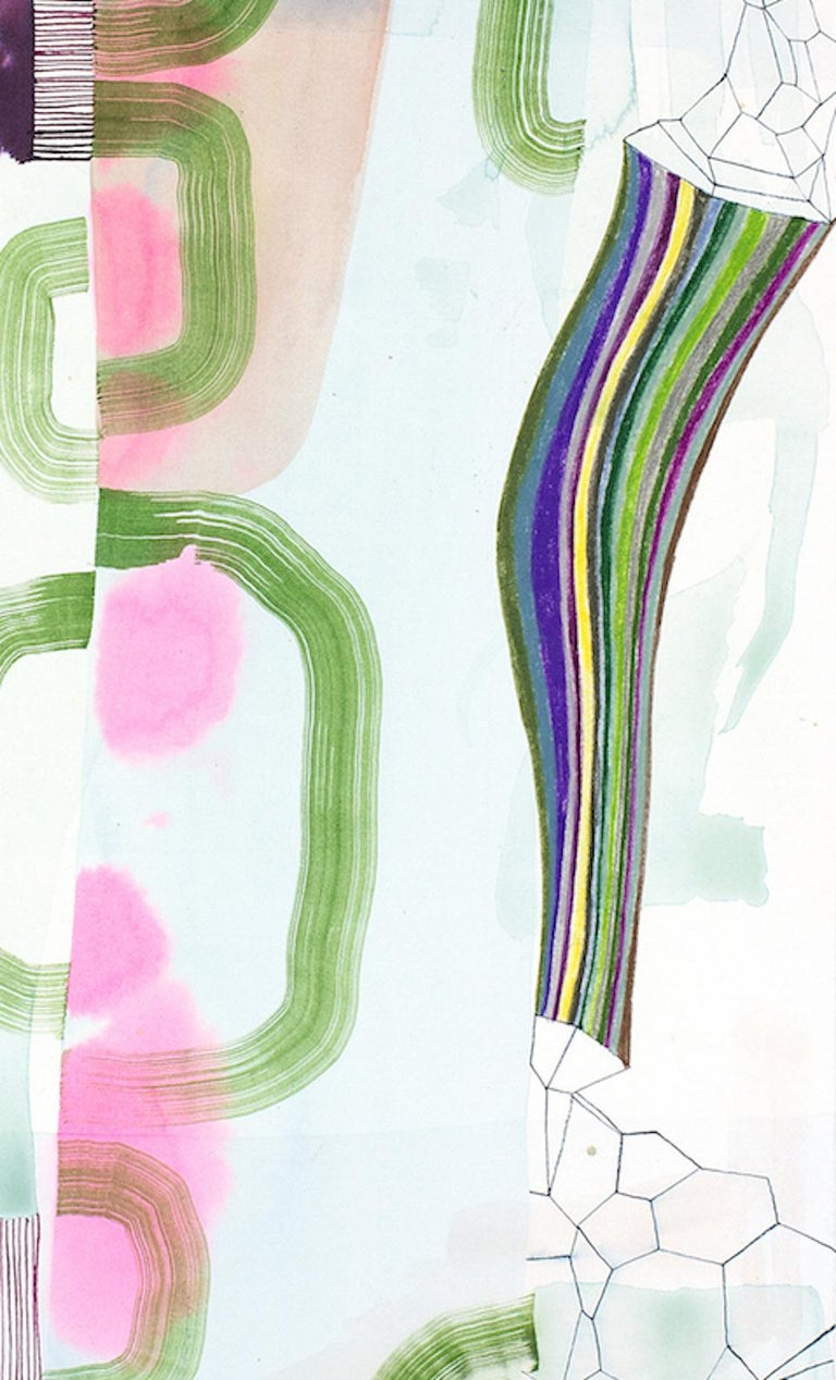 Untitled 330, Vertical Abstract Landscape in Pale Pastel Pink, Purple and Green - Contemporary Art by Gabe Brown