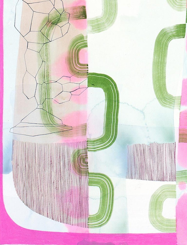 Untitled 330, Vertical Abstract Landscape in Pale Pastel Pink, Purple and Green - Gray Abstract Drawing by Gabe Brown