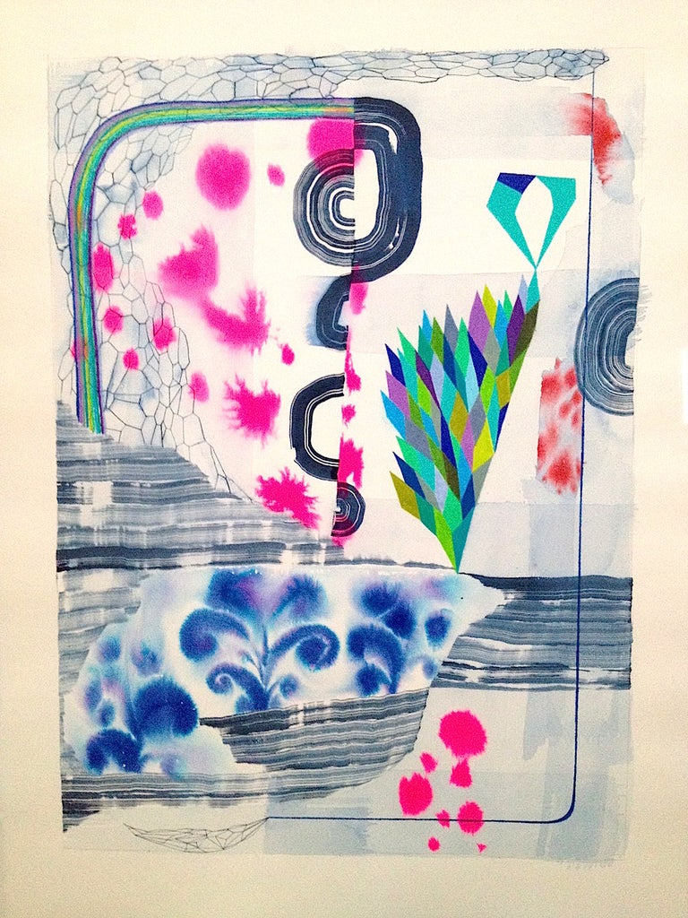 Gabe Brown Abstract Drawing - Untitled 342, Vertical Abstract Landscape in Blue, Green, Fuchsia Pink, Purple