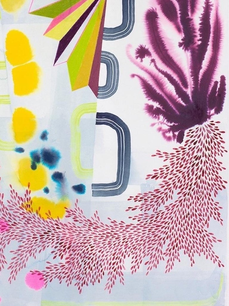 Gabe Brown Abstract Drawing - Untitled 370, Vertical Abstract Landscape in Purple, Yellow, Pink and Green