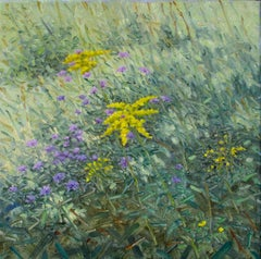 Meeting, Square Botanical Landscape with Yellow and Purple Flowers, Green Field