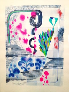 Untitled 342, Vertical Abstract Landscape in Blue, Green, Fuchsia Pink, Purple