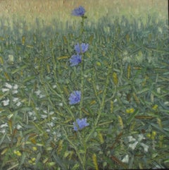Quandary, Small Square Botanical Landscape with Blue Flowers in Green Field