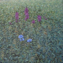 Performance, Square Botanical Landscape, Purple and Blue Flowers in Green Field