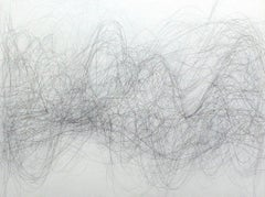 Advance, Horizontal Abstract Linear Graphite Drawing of Undulating Lines, Waves