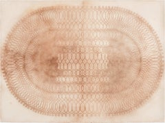 Spiral Form Eight, Geometric Spirograph Drawing in Reddish Brown on Cream Paper