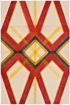 River and Steel Twins Five, Geometric Drawing in Red, Yellow, Orange, Green