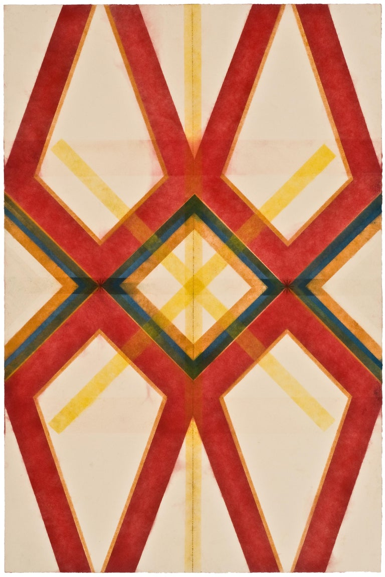 Mary Judge Abstract Drawing - River and Steel Twins Five, Geometric Drawing in Red, Yellow, Orange, Green