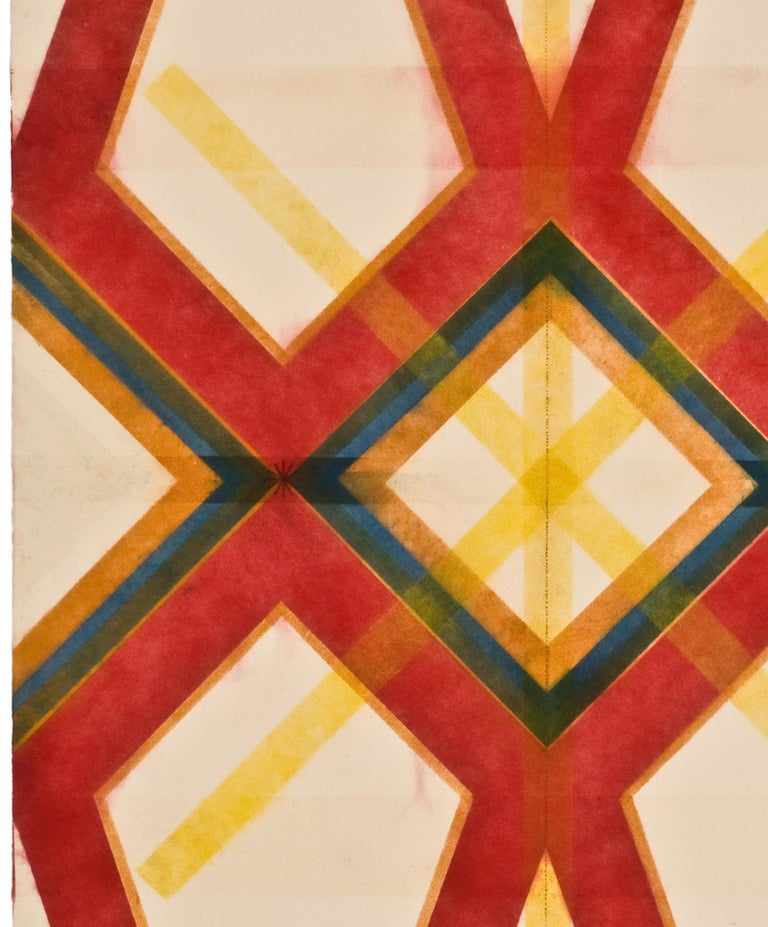 River and Steel Twins Five, Geometric Drawing in Red, Yellow, Orange, Green - Contemporary Art by Mary Judge