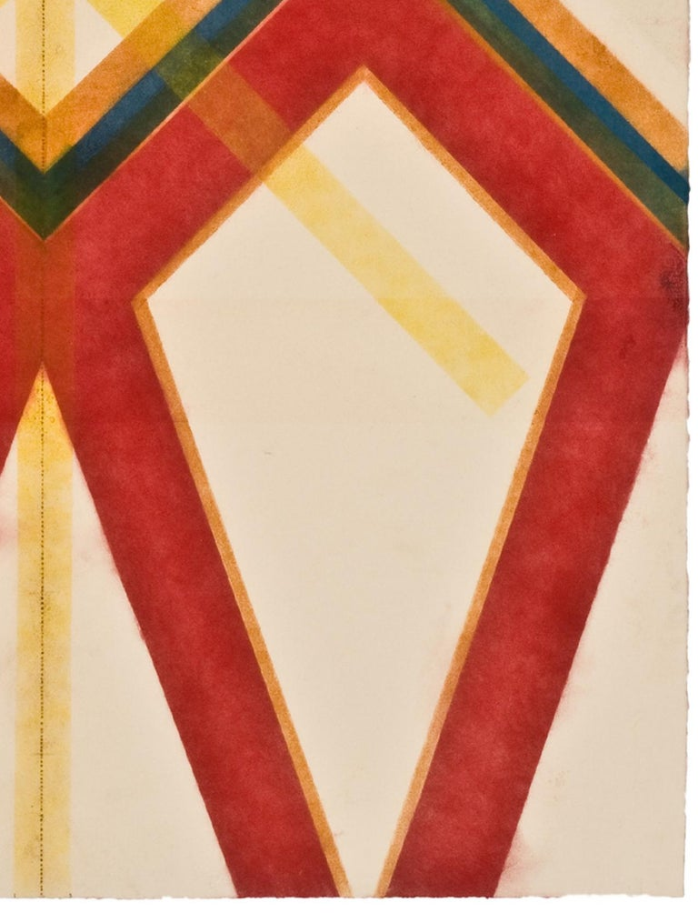 This geometric drawing has a beautiful, soft mottled texture created with Judge's unique powered pigment technique. The ordered symmetry of the layered diagonal lines in deeply pigmented bright red, light yellow, orange, dark blue and green is