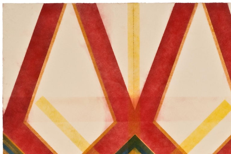 River and Steel Twins Five, Geometric Drawing in Red, Yellow, Orange, Green - Art by Mary Judge
