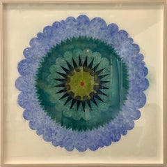 Blue Opus Eight, Blue and Teal Circular Flower Shape with Green, Dark Navy
