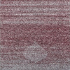 Hover Deep Red Silver, Square Painting, Metallic Silver Lines on Burgundy Panel