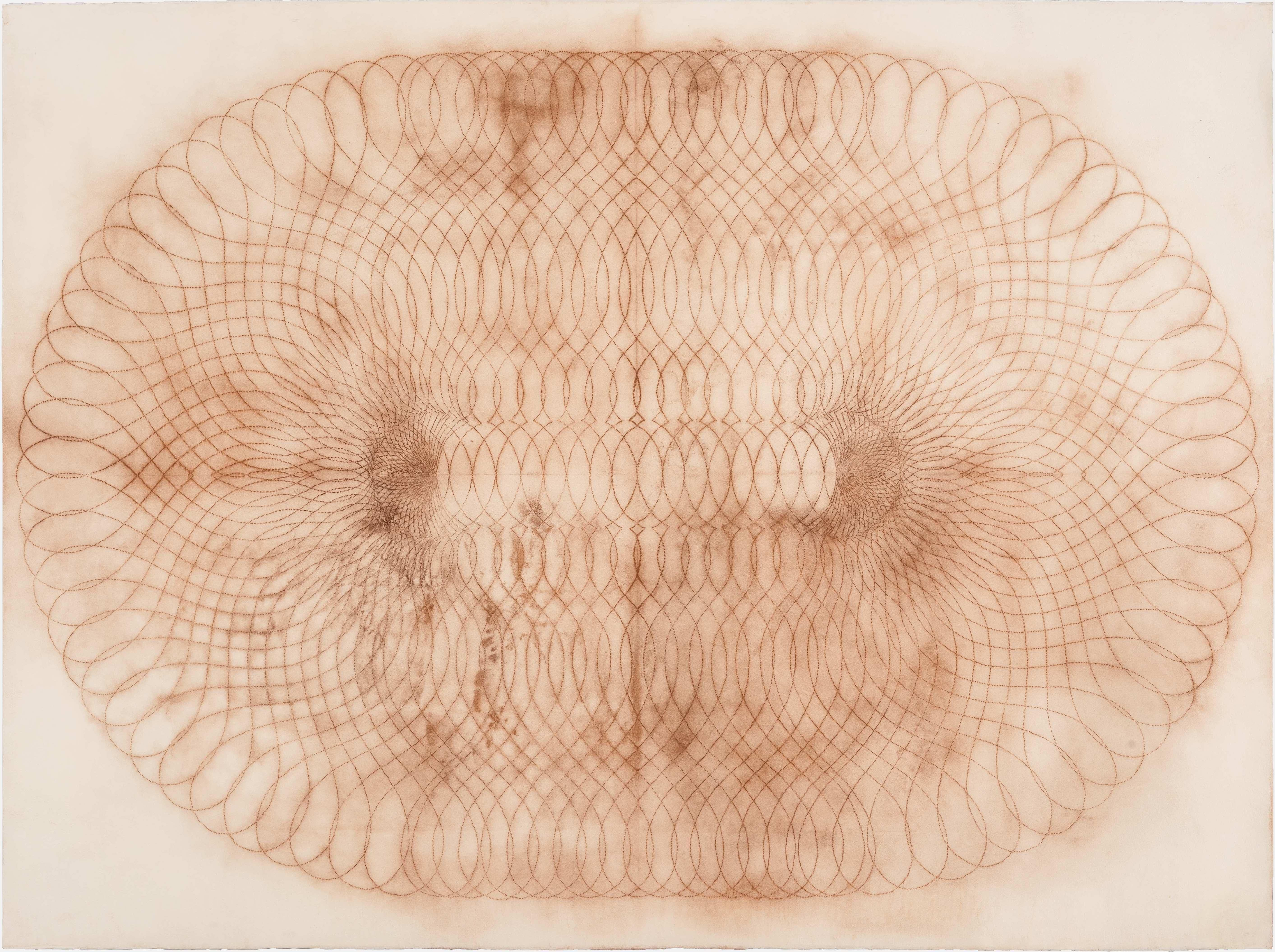 Spiral Form Four A, Geometric Spirograph Drawing in Reddish Brown on Cream Paper
