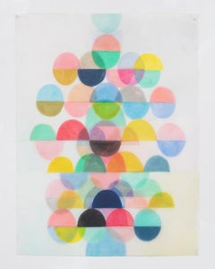 Untitled Two, Vertical Abstract Drawing with Multicolored Layered Half Circles