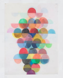 Untitled Three, Vertical Abstract Drawing with Multicolored Layered Half Circles