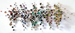 Botanica, Multicored Mixed Media Wall Mounted Sculpture with Crystals, Acorns