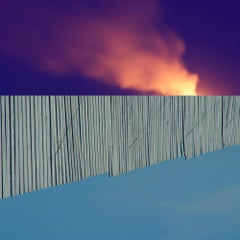 Blaze, Landscape Photograph of Orange Smoke on Purple Background Fence, Blue Sky