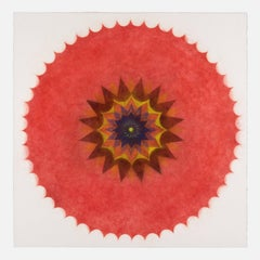 Pop Flower 47, Mandala in Red, Yellow, Brown, Dark Cobalt Blue