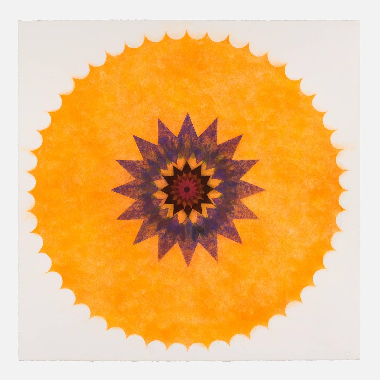 Pop Flower 46, Bright Orange Mandala, Green, Maroon, Dark Burgundy, Blue Center