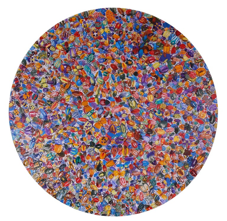 In this large watercolor painting, hundreds of brightly-colored painted beetles in vibrant shades of red, blue, yellow, green, orange and brown cover this large circular canvas to a kaleidoscopic effect. The multicolored insects are clustered